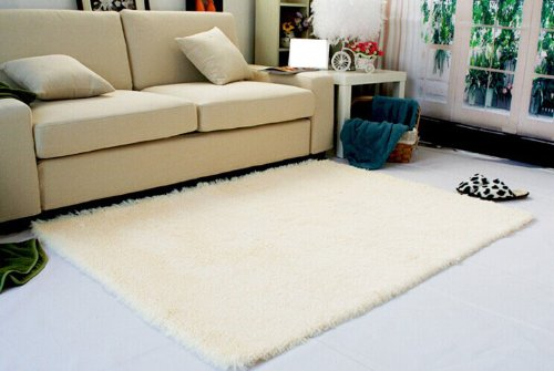 Super Soft Modern Shag Area Rugs Living Room Carpet Bedroom Rug For Children Play Solid Home Decorator Floor Rug And Carpets 4- Feet By 5- Feet (Beige) front-201090