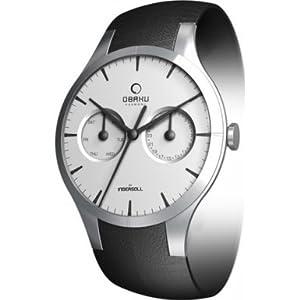 Obaku By Ingersoll Gents Silver Dial, Black Leather Strap Watch