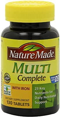 Nature Made Multi Complete with Iron 130 Tablets (Pack of 4)