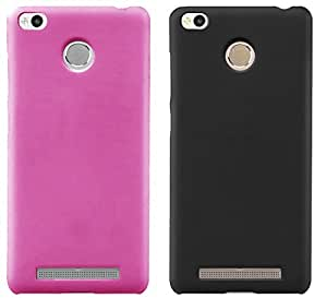 Universal Deals Combo of 2 Pieces Rubberized Matte Hard Back Case Cover For Xiaomi Redmi 3s 3s Prime (Pink & Black)