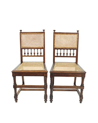 Pair of Renaissance Style Cane Chairs, Brown/Tan