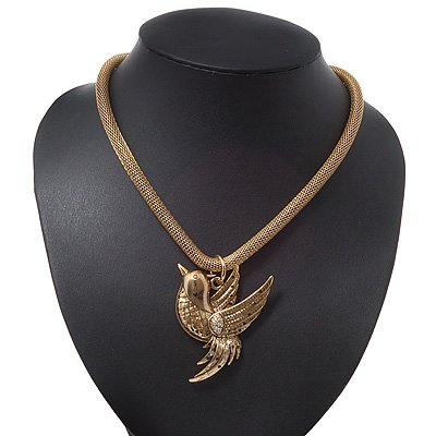 Gold Plated 'Bird' Pendant Mesh Magnetic Choker Necklace - 38cm Length