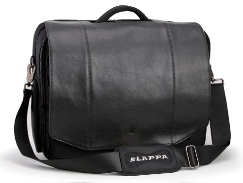 SLAPPA KIKEN Black Leather Checkpoint Friendly 18 inch Laptop Bag, Tons of Storage Ultimate Protection (Messenger Bag Custom compare prices)