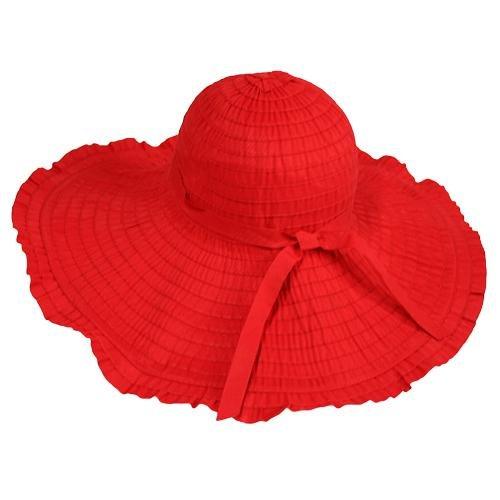 Red Ruffled Wide Wired Brim Floppy Sun Hat