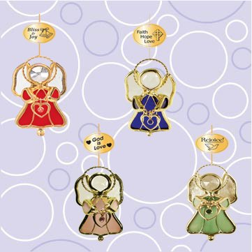 Set of 4 Ornaments – Stained Glass Angel