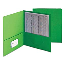 Smead Products - Smead - Two-Pocket Portfolio, Embossed Leather Grain Paper, Green, 25/Box - Sold As 1 Box - Keeps papers and electronic media safely together for easy transport and accessibility. - Holds business or title card for identification. - Pocke