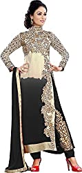 Prenea Women's Georgette Unstitched Salwar Suit Dress Material PS6 _ White & Black