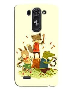 Blue Throat Three Animal Cat Rat And Frog Enjoying Printed Designer Back Cover For LG G3 Beat
