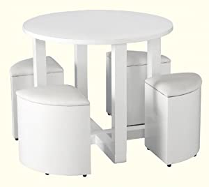 stowaway round dining table with 4 chairs in black or white high gloss