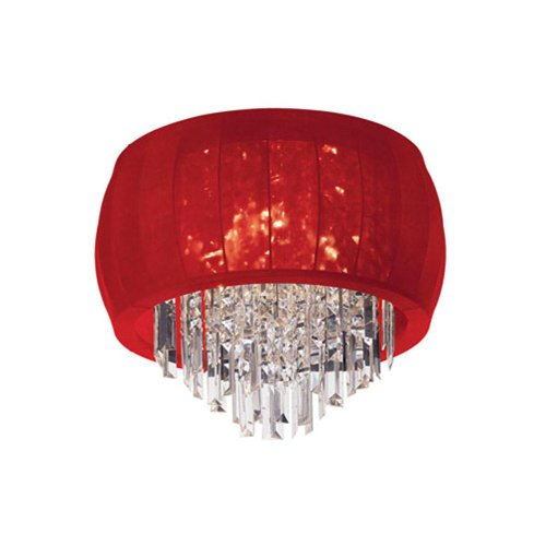 Dainolite Lighting MYA-19FH-PC-927 4-Light Crystal Flush Mount Fixture with Red Lycra Shade