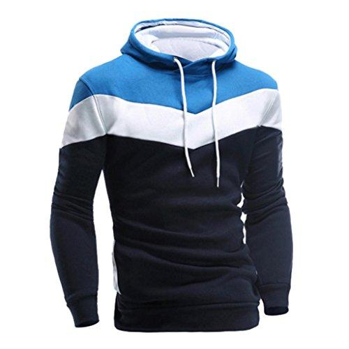 Koly_Uomini Retro maniche lunghe con cappuccio Top Outwear rivestimento del cappotto (XL, Marina Militare)