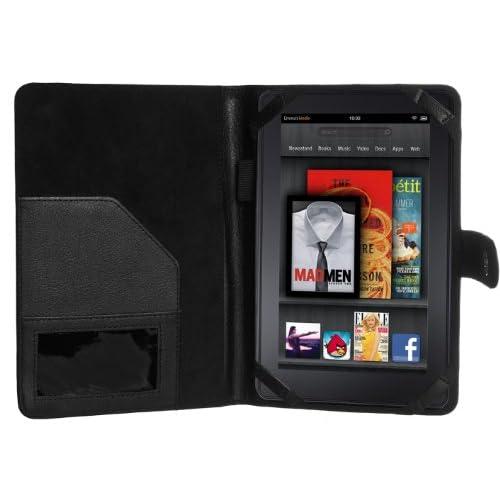 Cimo Kindle Fire Leather Folio Cover Case   Black