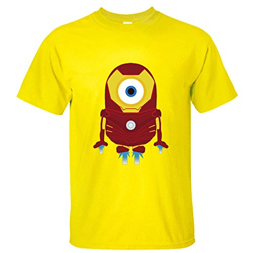 CRAZY POMELO Funny Cartoon Minions & Iron Man Print Short-sleeved Men's T-shirt
