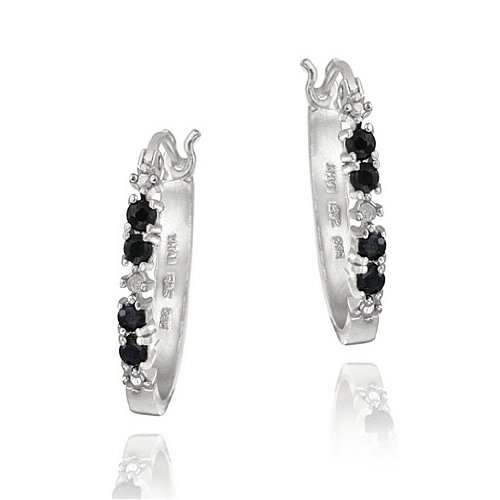 Sterling Silver Sapphire & Diamond Accent Hoop Earrings