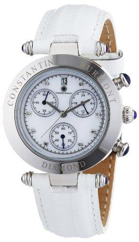 Constantin Durmont CD-VISL-QZ-LT-STST-WHD - Reloj cronógrafo de cuarzo para mujer con correa de piel, color blanco