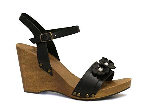 Sandali zeppa in legno in pelle di vitello color nero - Codice modello: 090 NERO - Taglia: 37 IT