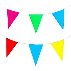 Yueton® Multicolor Pennant Banner 164ft 50m Pennant Party Rainbow String Curtain Banner for Decorations, Birthdays, Event Supplies, Festivals, Children & Adults by Blovess