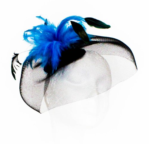 Womens Large Black Net Fascinator with Bright Coloured Feathers on Clips in Turquoise
