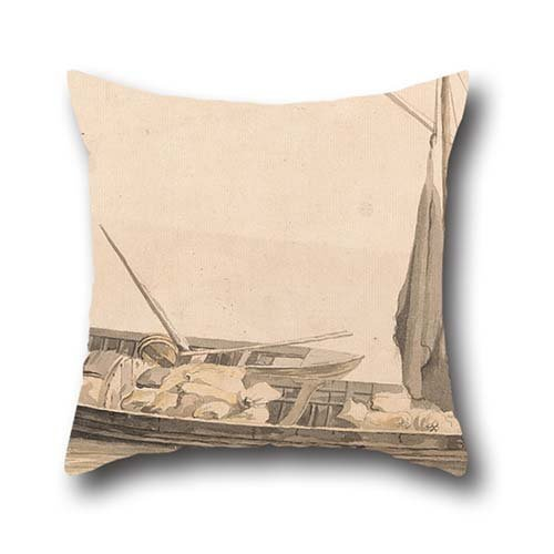 oil painting Paul Sandby - Two Boats at Anchor pillow shams ,best for lover,home,gril friend,car seat,kids boys,him 20 x 20 inches / 50 by 50 cm(twice sides) (Paul Jr Designs Seat Covers compare prices)
