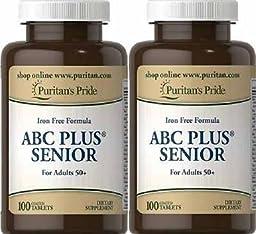 ABC Plus Senior with Lutein & Lycopene 120 Caplets 2 Bottles