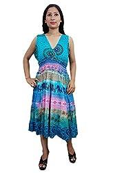 Indiatrendzs Women's Dresses Cotton Printed Blue Casual Wear Midi Dress