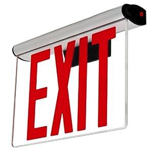 Lfi Lights Edge Lit Exit Sign Adjustable Angle Red