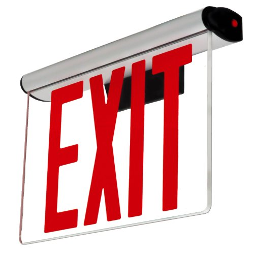 Edge Lit Exit Sign - Adjustable Angle - Red Led - Surface Or Recessed Mount - Nyc Approved - Nycelrtr