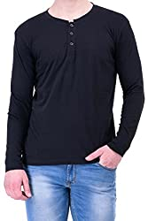 Black Slim Fit Cotton Henley Half Sleeves T-Shirt for Men by Colors Couture