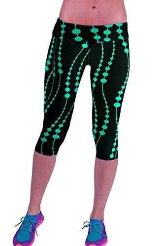 Ancia Womens Yoga Active Fitness Capri Leggings Gym Tights(Green Black,L)