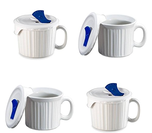 CorningWare Pop in mug, 4 mugs with vented plastic covers (Bake, Microwave) 20 oz/591ml (French White) (Corning Ware 20oz Mug compare prices)
