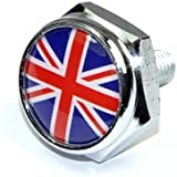 Cutequeen British Flag Slivery License Plate Frame Bolts Screws Metal(Pack of 4)