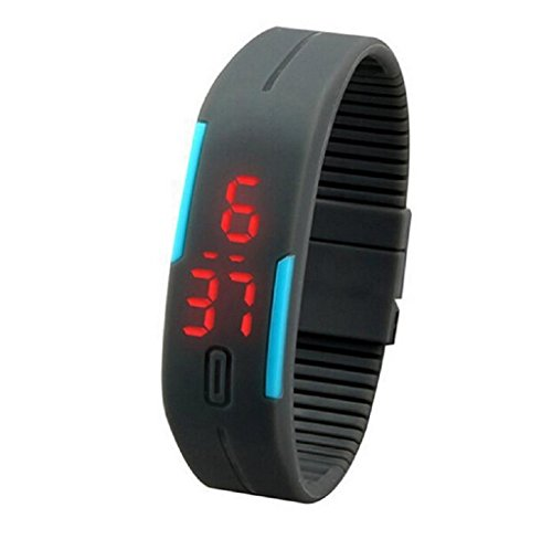START Mens&Womens Rubber LED Ultra Thin Sports Digital Wrist Watch-Gray (Amazon G Shock compare prices)
