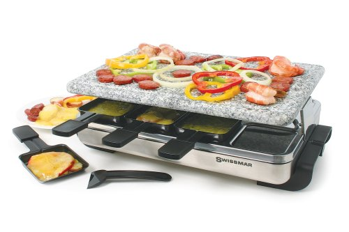 Swissmar KF-77081 Stelvio 8-Person Raclette Party Grill with Granite Stone Grill Top, Brushed Stainless Steel (Raclette Stelvio compare prices)