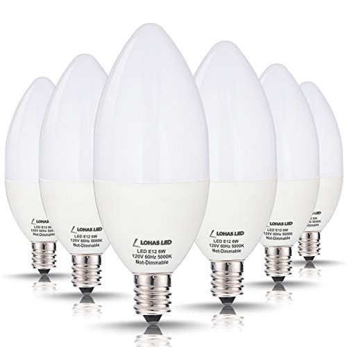 LOHAS Candelabra, LED Bulbs 60 Watt Equivalent-6W LEDs, Daylight (5000K) Light Bulbs Candelabra Base E12 LED, 180°Beam Angle, LED Lights for Home Lighting, LED Candles with Decoration(6 Pack) (Led Lights Small Screw compare prices)