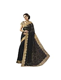 Black And Golden Soft Net And Georgette Designer Saree