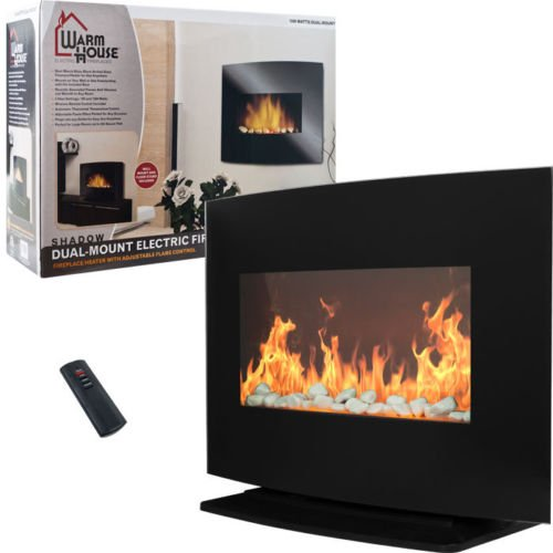 Warm House Black Curved Glass Electric Fireplace Heater