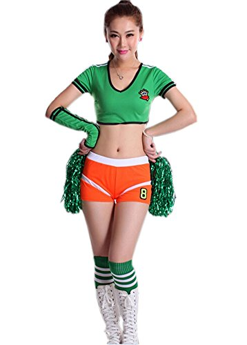 Soccer Cheerleader Costume/ Cheerleading Uniform/Cheerleader Outfit Size L GREEN