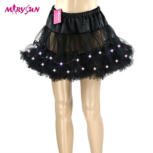 LED Sparkling Light-up Tutu Petticoat Skirt available in five colors. The black color shown is not avaiable, but you will see many other lovely colors.