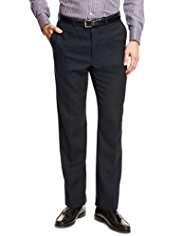 Sartorial Luxury Pure Wool Flat Front Twill Trousers