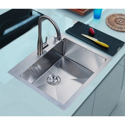 "25"" x 22"" Overmount Single Basin Kitchen Sink"