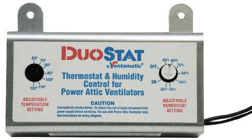 Ventamatic XXDUOSTAT Adjustable Dual Thermostat/Humidistat Control for Power Attic Ventilators (Round Attic Vent compare prices)