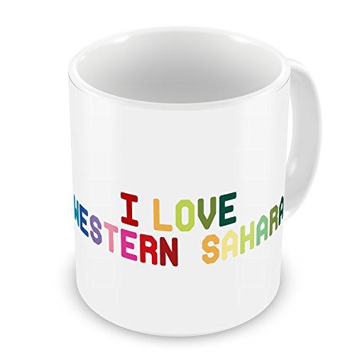 Coffee Mug I Love Western Sahara , Colorful - Neonblond