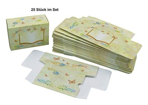 Geschenkverpackungen - Geschenkbox - EDDINGSTIFT Ocker mit 25 Schachteln als Verpackung für Gastgeschenke bei einer Babyparty, Geburt, Taufe, Kommunion, Konfirmation, Firmung, Jugendweihe, Hochzeit, Geburtstag usw. Kartonage kann mit Name oder Inhalt persönlich und personalisiert beschriftet werden und bietet Platz für Pralinen, Süßigkeiten, Mandeln, Mitgebsel und weitere Geschenkideen (11 x 7,8 x 4,8 cm, Motiv Schmetterling & Eddingstift)