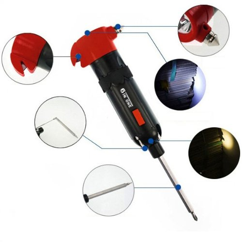 6-In-1 Car Safety Hammer W/ Knife Screwdriver Led Torch Hightlight Torch Magnetic & Emergency Hammer