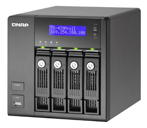 QNAP TS-439Pro II Turbo Nas with iSCSI, Raid, Vmware Certified, Apple Time Machine Ready, Amazon S3 Backup, DFS, and 1GB RAM