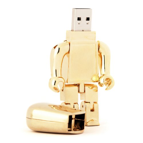 8GB Gold Robot USB Memory Stick - Flash Drive/School/Novelty/Gift
