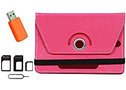 Jkobi Exclusive Tablet Book Flip Case Cover For Domo X3d X3g X14 (Universal) with Card Reader + SIM Adapter -Pink