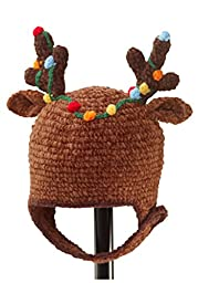 San Diego Hat Company Chenille Reindeer Antleir Hat Brown, 1-2 Years