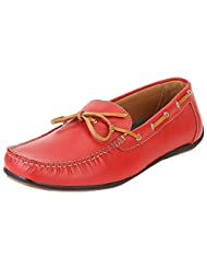 Aditi Wasan Men's Leather Moccasins Shoe In Red Colour