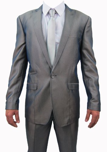 Mens Marc Darcy Grey Two Tone 2PC Suit, Jacket 38
